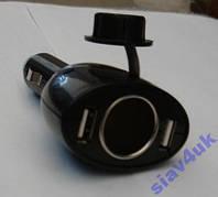 Разветвитель Тройник 12-24V USB 2x1A 0098 Тройник в прикуриватель, Разветвители для прикуривателя