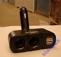 Разветвитель Двойник 12-24V USB 2x1.5A!!! 0668МОЩЬ Разветвители для прикуривателя, Двойник прикуривателя
