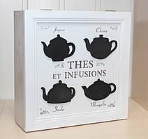 Деревянная шкатулка для чая Прованс на 9 отделений 69015