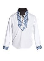 Вышитая рубашка для мальчика. (Синяя и красная вышивка)