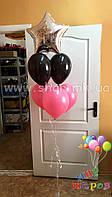 Фонтан из воздушных шаров с фольгированной звездочкой