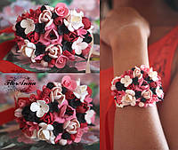 """""""Коралл"""" Браслет на руку с цветами из полимерной глины, фото 1"""
