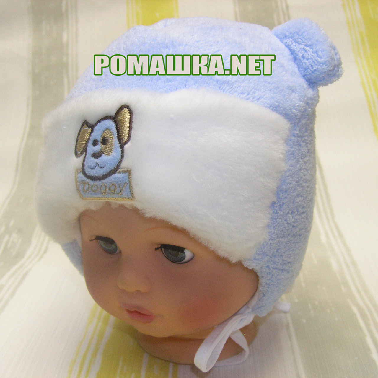 Детская зимняя термо шапочка на завязках р. 44 для новорожденного ТМ Мамина  мода 3206 Голубой b0452cfcf2d9b