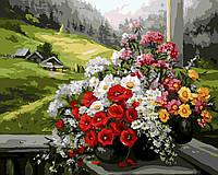 Картина по цифрам без коробки Букеты на окне Худ Анка Булгару (BK-GX9500) 40 х 50 см