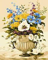 Картина по номерам без коробки Желто-голубой букет Худ Вивьен Флетч (BK-GX9739) 40 х 50 см