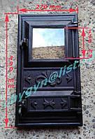 Дверка чугунная со стеклом №6 (270х490мм), фото 1