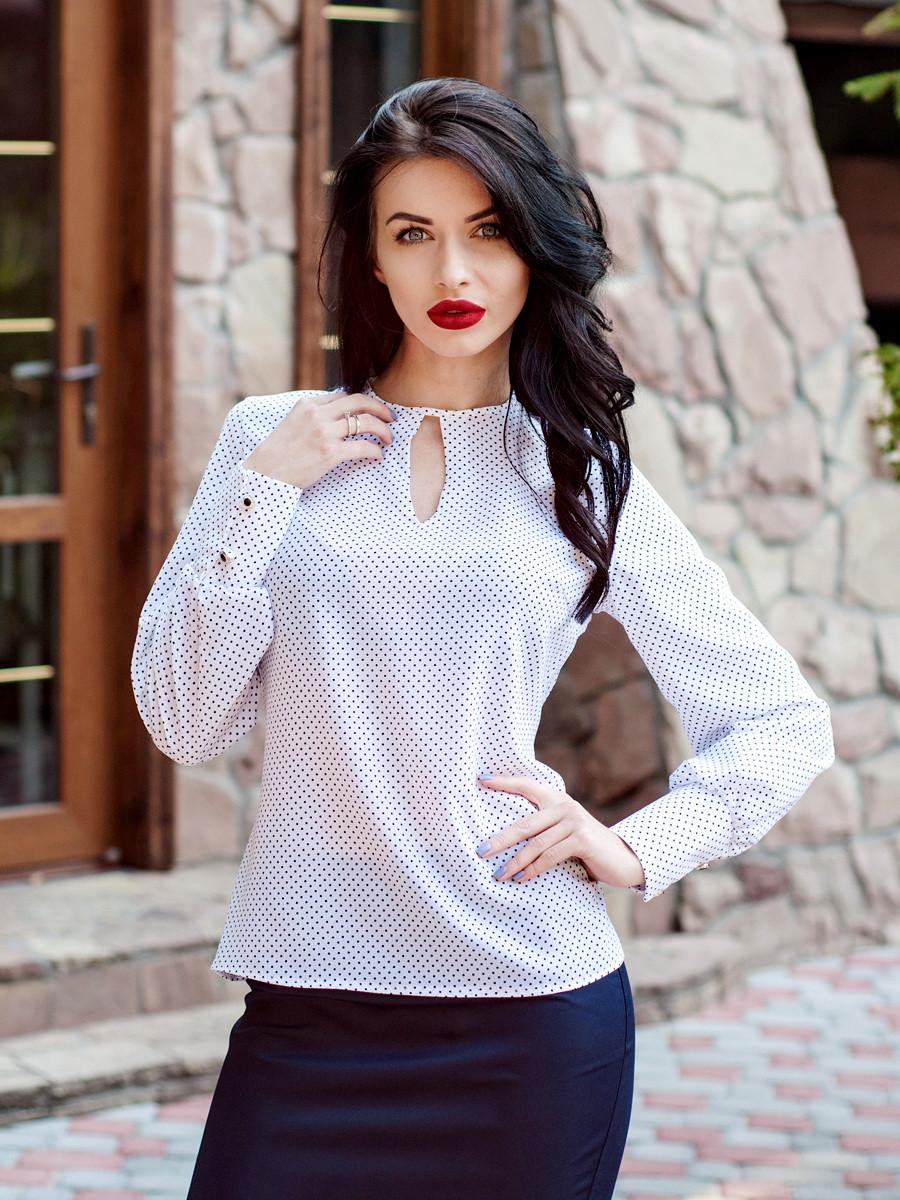 Стильна біла блузка з довгим рукавом