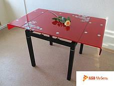 Стол стеклянный раскладной GD-017 красный (Signal ТМ), фото 3