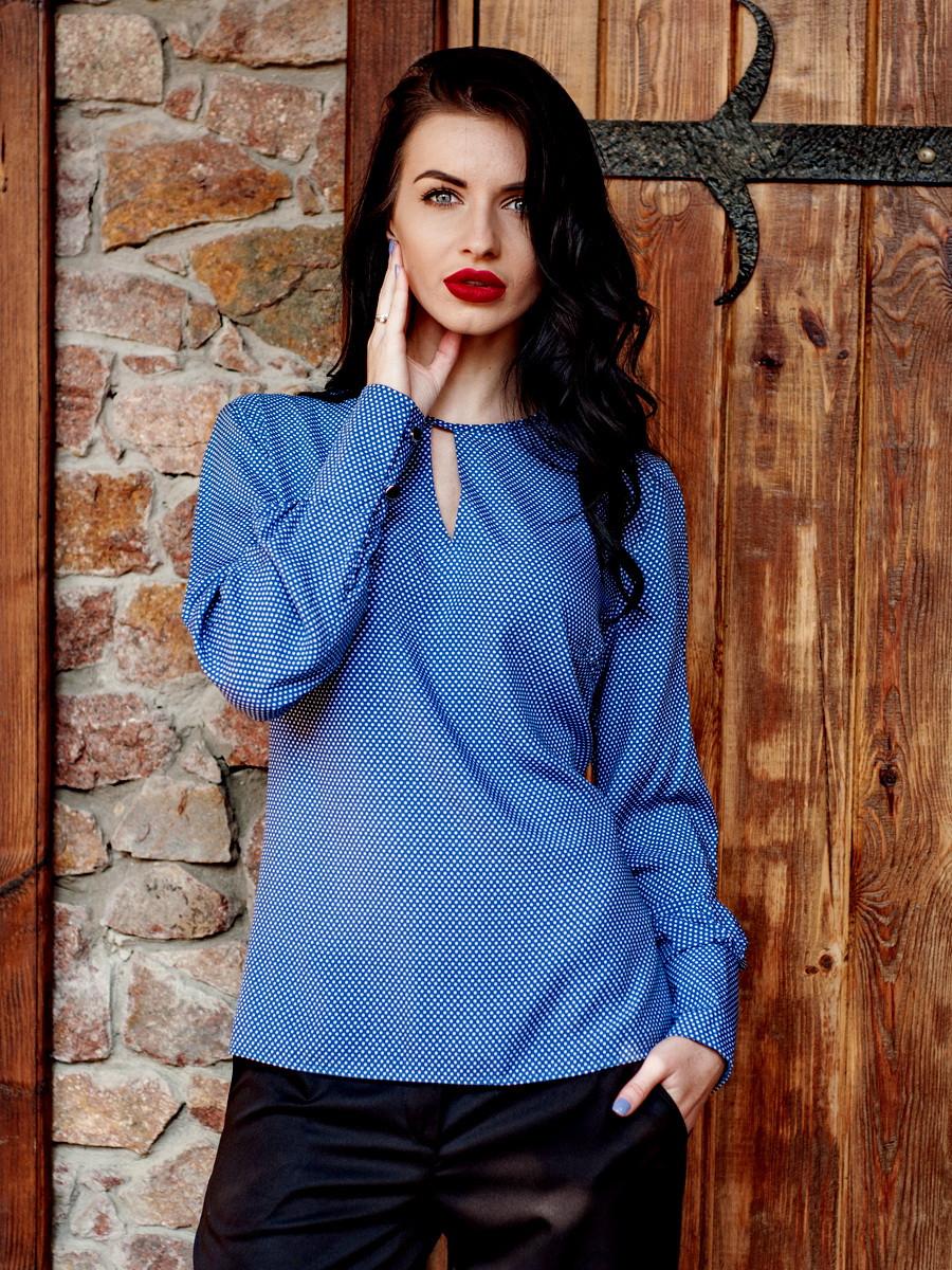 Ділова синя жіноча блузка