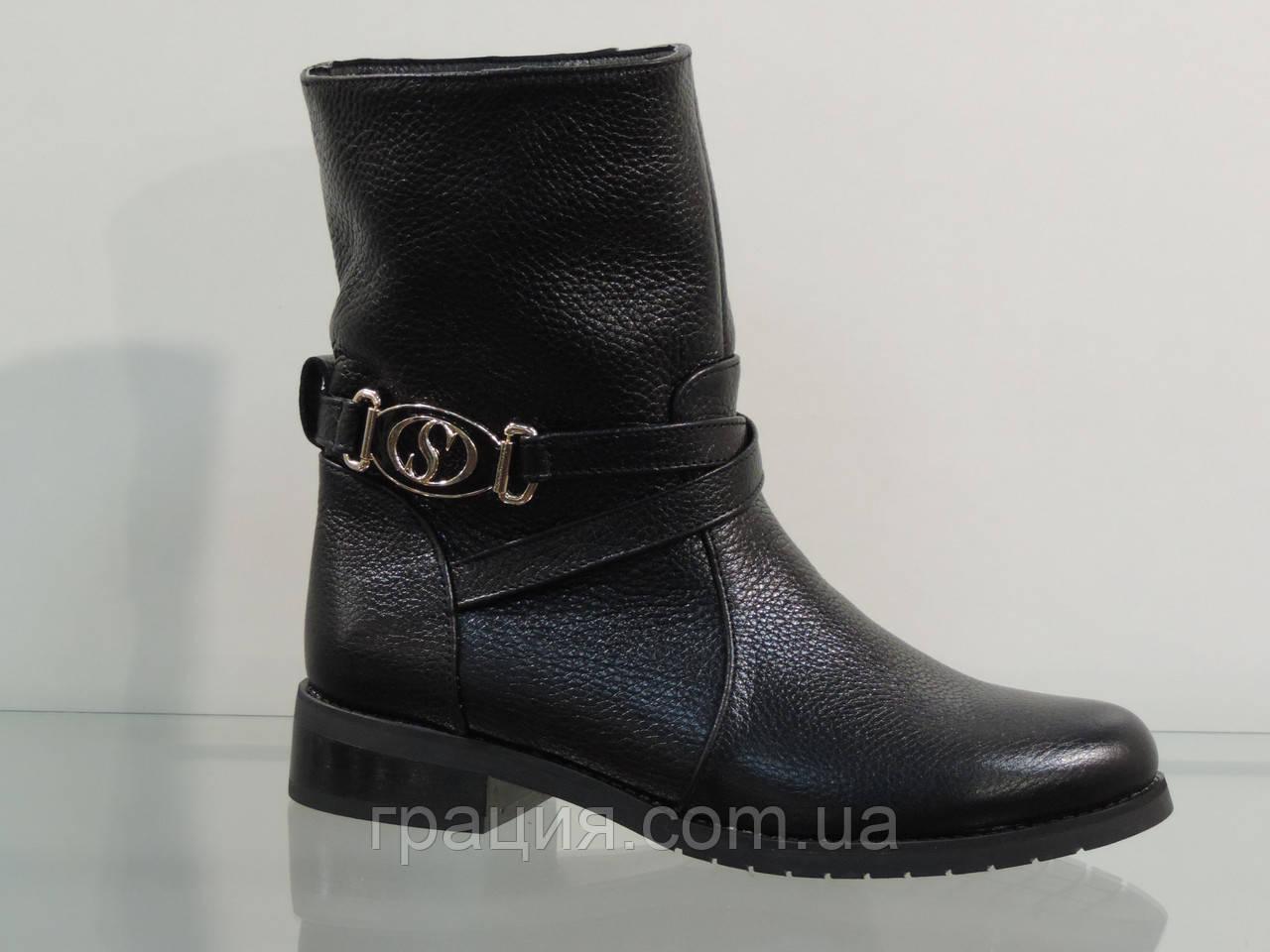 Ботинки молодежные кожаные без молнии