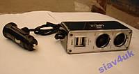 Разветвитель Двойник 12-24V USB 2x1A 003 Разветвители для прикуривателя, Двойник прикуривателя