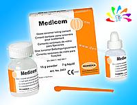 MEDICEM, фиксирующий стеклоиономерный цемент, порошок 15 г + жидкость 7 мл (с ложечкой)