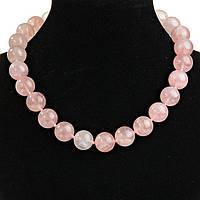 Бусы Розовый Кварц  круглые бусины короткие