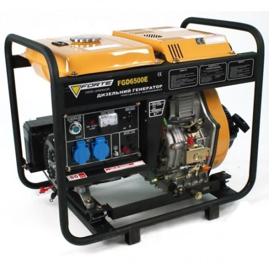 Дизельный генератор Forte FGD-6500E (4,8 кВт) однофазный с электрическим стартером