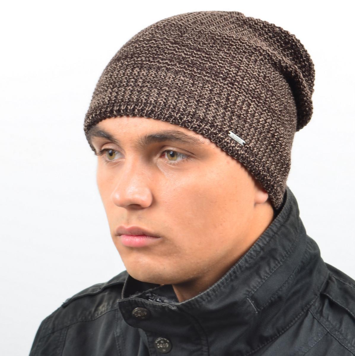 Мужская удлиненная шапка NORD коричневый меланж
