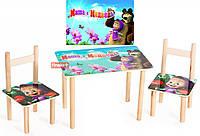 Детский Набор стол и два стульчика Маша и Медведь. F59