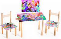 Детский Набор стол и два стульчика Винкс. F56