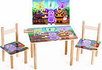 Детский Набор стол и два стульчика Лунтик. F57