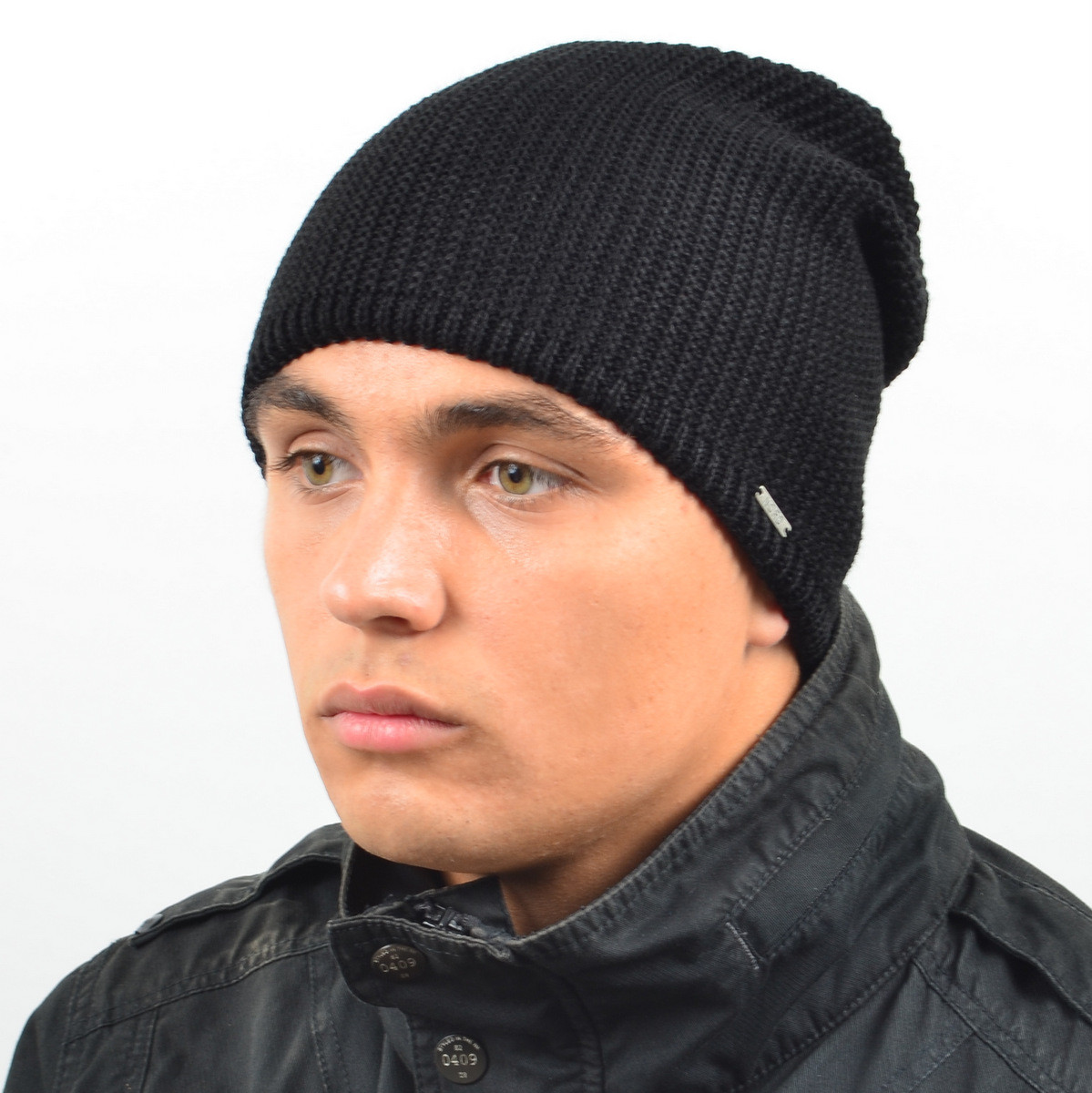 Мужская удлиненная шапка NORD черный