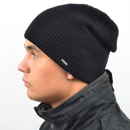 Мужская удлиненная шапка NORD черный, фото 2