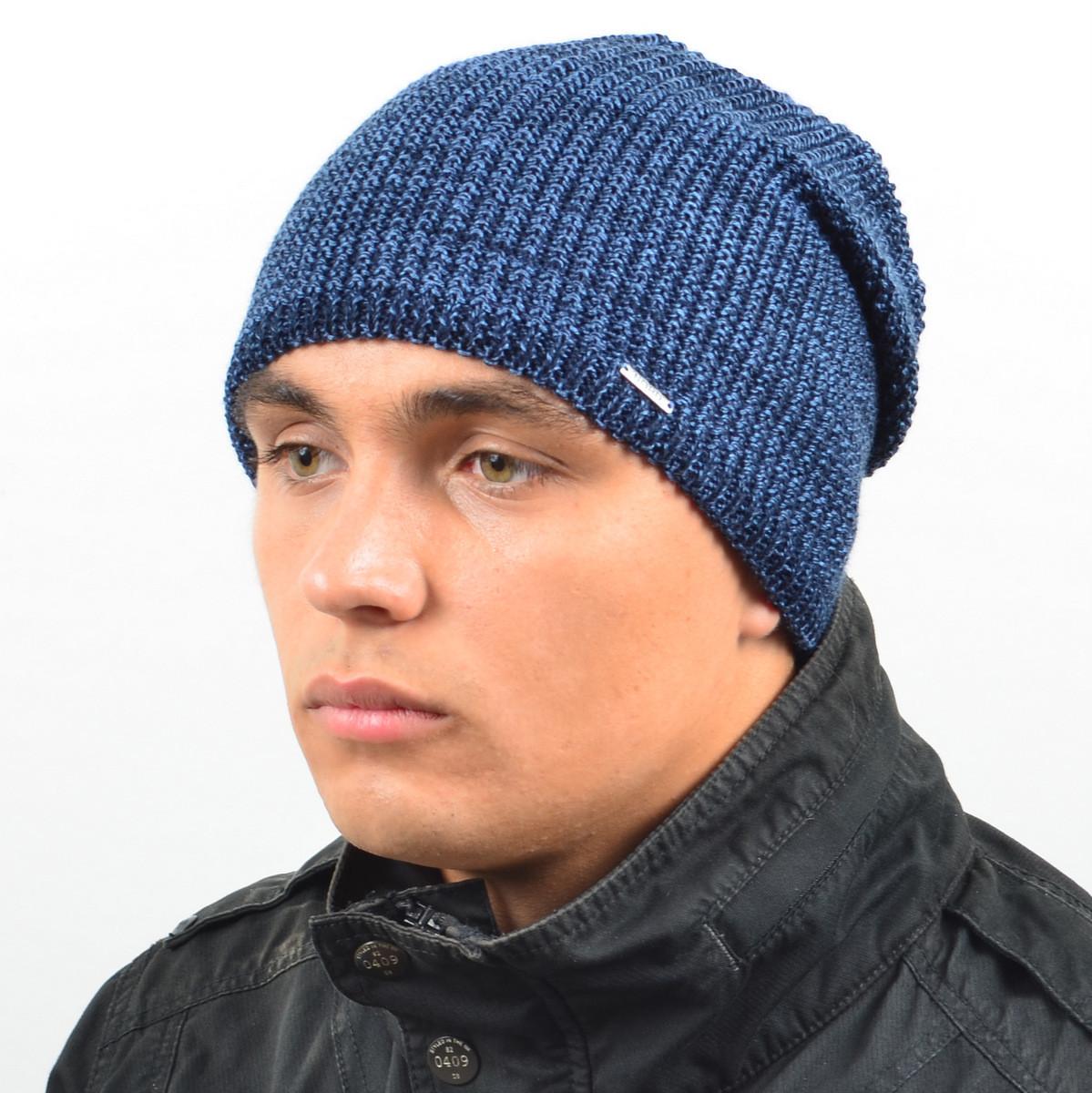 Мужская удлиненная шапка NORD синий + джинс меланж