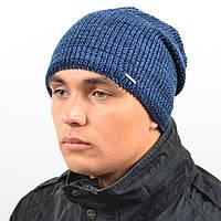 Молодежная удиненая шапка NORD синий + джинс меланж