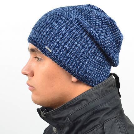 Мужская удлиненная шапка NORD синий + джинс меланж, фото 2