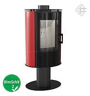Стальная печь-камин Kratki Koza AB/S/N/O glass вращающаяся с красным кафелем