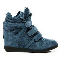 Модные сникерсы женские синие из замши на липучках
