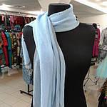 Шарф шелковый голубой гофре, фото 2