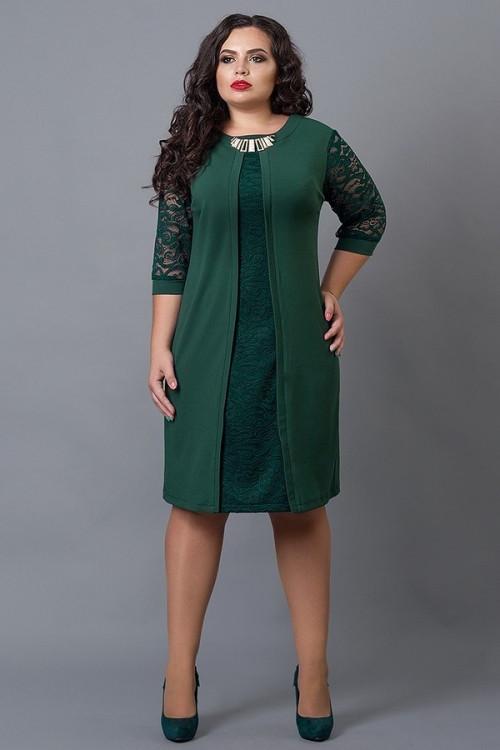 92616d82764 Праздничное платье темно-зеленого цвета с гипюровыми вставками размеры 58