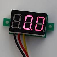 Цифровой вольтметр бескорпусный 100В, красный