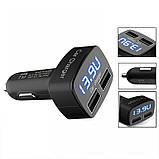 Автомобильное зарядное, сдвоенный USB, с индикацией напряжения, тока, температуры, фото 2