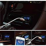 Автомобильное зарядное, сдвоенный USB, с индикацией напряжения, тока, температуры, фото 3