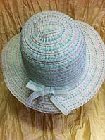 Летняя детская шляпка для девочки  из  ленты цвет -голубой с белыми полосками