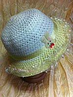 Детская шляпка для девочки  из рисовой соломки цвет белый с жёлтыми полями