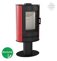 Стальная печь-камин Kratki Koza AB/S/N/O вращающаяся с красными кафельными панелями