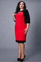 Праздничное платье в красном цвете с черным кружевом на груди вырез капля