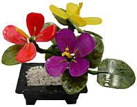 Цветы из нефрита в мраморном горшочке 16х17 см