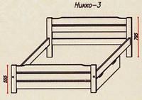 """Кровать """"Никко-3"""" из массива ольхи (Темп)"""