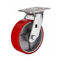 Большегрузное полиуретановое колесо с чугунным основанием, поворотное, диаметр 100 мм.