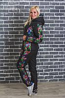 """Зимний женский костюм на синтепоне """"Мила"""" (42-54) черный, фото 1"""