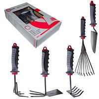 Набор садовый: грабли, лопата, грабли-веерные, грабли-сапка, культиватор-5 ед(наб) INTERTOOL FT-0030
