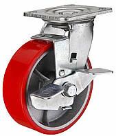 Большегрузное полиуретановое колесо с чугунным основанием, поворотное с тормозом, диаметр 200 мм.