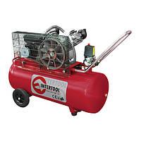 Компрессор 100л, 4HP, 3кВт, 220В, 8атм, 500л/мин, 2 цилиндра, INTERTOOL PT-0014