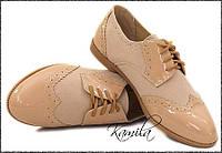 Стильные туфли аля штиблеты оксфорды замш + лак беж размер 36