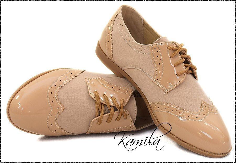 Стильные туфли аля штиблеты замш + лак беж размер 37
