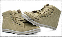 Стильные стеганые кеды кроссовки с шипами бежевые размер 37