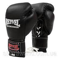 Профессиональные боксерские перчатки REYVEL Pro на шнурках и липучке кожа унции 10 oz, фото 1