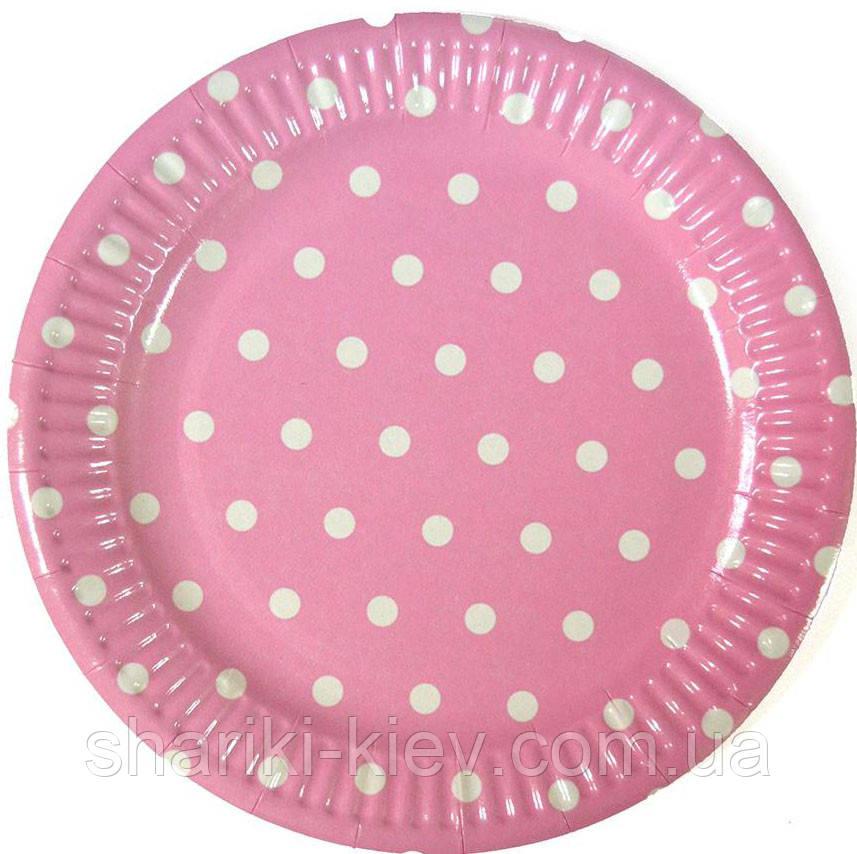 Тарелки Розовый Горошек 10 шт. бумажные на День рождения